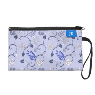 Girly Blue Leafs & Clothing Label Custom Name Wristlet