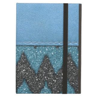 Girly Blue Leather Zebra Pattern Glitter Print Case For iPad Air