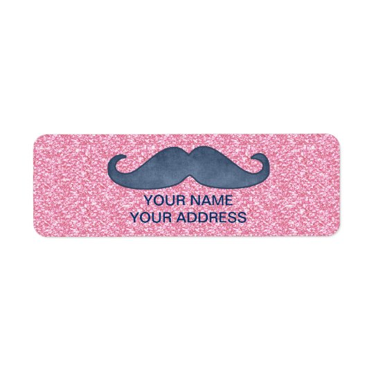 GIRLY BLUE MUSTACHE PINK GLITTER PHOTO RETURN ADDRESS LABEL