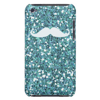 GIRLY BLUE WHITE MUSTACHE PRINTED GLITTER Case-Mate iPod TOUCH CASE