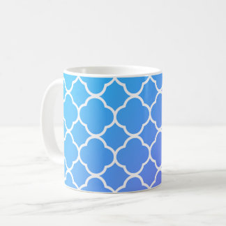 Girly Blue & White Quatrefoil Coffee Tea Mug