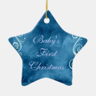 Girly Blue with White Swirls & Curls Ceramic Ornament