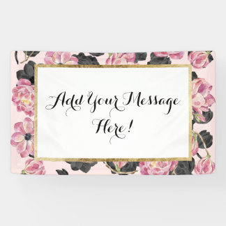 Girly Blush Pink and Black Watercolor Flowers Banner