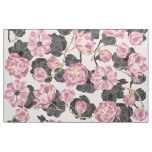 Girly Blush Pink and Black Watercolor Flowers Fabric