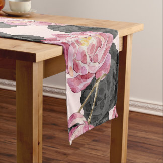 Girly Blush Pink and Black Watercolor Flowers Short Table Runner
