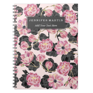 Girly Blush Pink and Black Watercolor Flowers Spiral Notebook