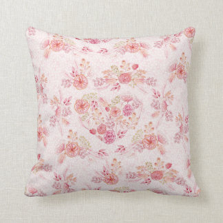 Girly Blush Pink Floral Throw Pillow
