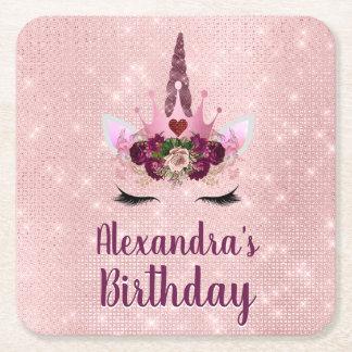 Girly Blush Pink Sparkle Unicorn Birthday Party Square Paper Coaster