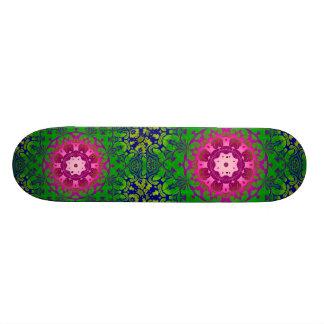 girly bohemian Fuschia green pattern damask Skateboard Deck
