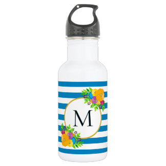 Girly Bold Floral Turquoise Blue Striped Monogram 532 Ml Water Bottle