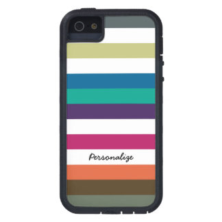 Girly Bold Raibow Big Horizontal Stripes and Name Case For The iPhone 5