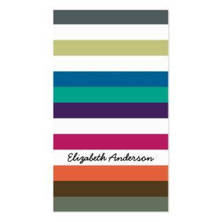 Girly Bold Rainbow Big Horizontal Stripes and Name Business Card Templates