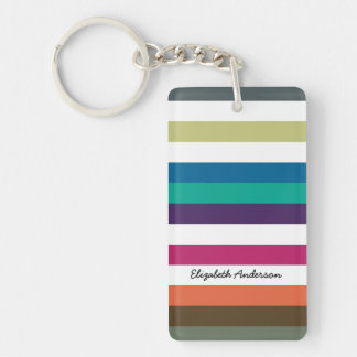 Girly Bold Rainbow Big Horizontal Stripes and Name Double-Sided Rectangular Acrylic Keychain