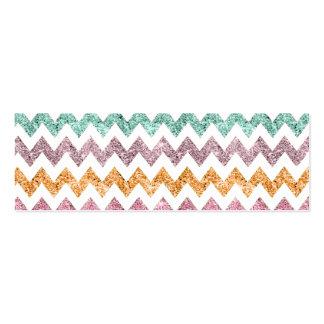 Girly Bright Modern Glitter Chevron Chic Pattern Mini Business Card