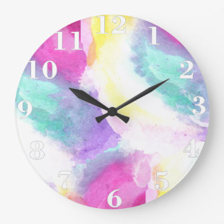 Girly bright pastel watercolor brush strokes large clock