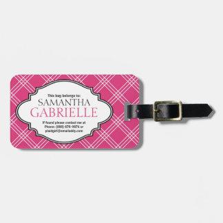 Girly Bright Pink Checker Plaid Ladies Luggage Tag