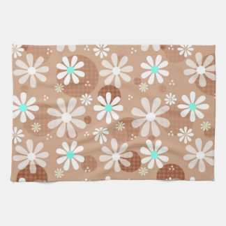 Girly Brown Daisy Flower Pattern Cute Aqua Dots Kitchen Towel