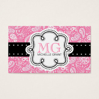 Girly Bubble Gum Pink  Paisley Calling Card