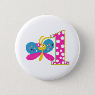 Girly Butterfly First Birthday 2 Inch Round Button