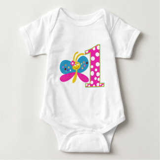 Girly Butterfly First Birthday Shirts