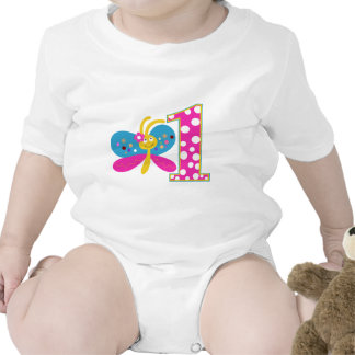 Girly Butterfly First Birthday T-shirts