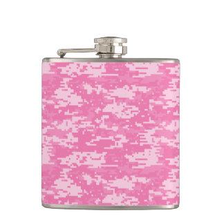 Girly Camo Pink Camouflage Hip Flask
