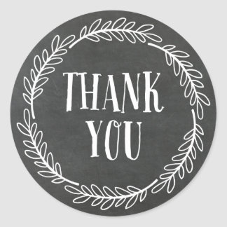 Girly Chalkboard Wreath Thank You Stickers