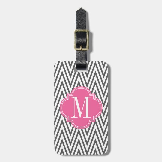 Girly Charcoal & Pink Chevron Stripes Custom Luggage Tag