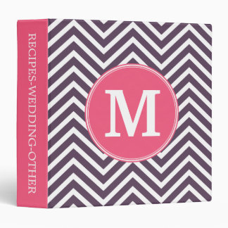 Girly Chevron Pattern with Monogram - Pink Purple 3 Ring Binders