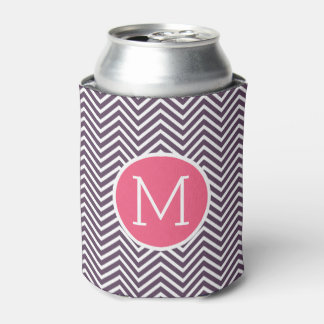 Girly Chevron Pattern with Monogram - Pink Purple Can Cooler
