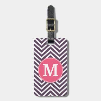Girly Chevron Pattern with Monogram - Pink Purple Luggage Tag