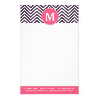 Girly Chevron Pattern with Monogram - Pink Purple Customized Stationery