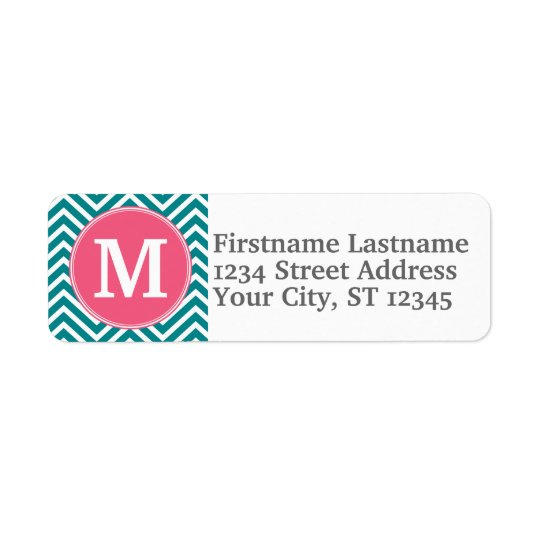 Girly Chevron Pattern with Monogram - Pink Teal