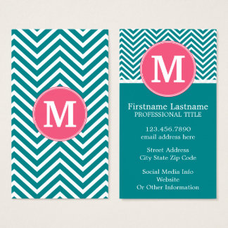Girly Chevron Pattern with Monogram - Pink Teal Business Card