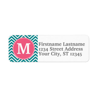 Girly Chevron Pattern with Monogram - Pink Teal Return Address Label