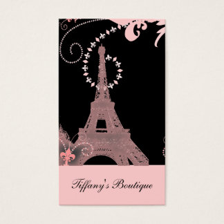 girly chic black and pink paris eiffel tower business card