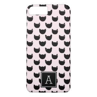 Girly chic  black cat PINK Monogram Personalized iPhone 8 Plus/7 Plus Case