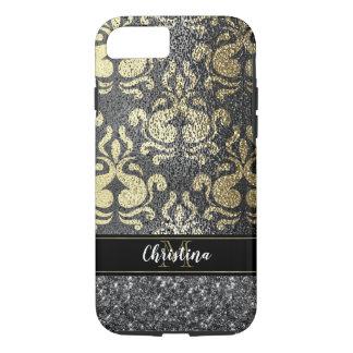 Girly Chic Damask Gold Silver Elegant Monogram iPhone 8/7 Case