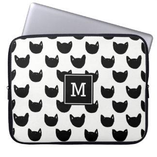 Girly chic Doodle black cat Monogram Personalized Laptop Sleeve