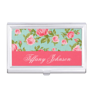Girly Chic Elegant Vintage Floral Roses Monogram Business Card Holder