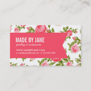 girly chic elegant vintage floral roses ribbon business card - Girly Business Cards