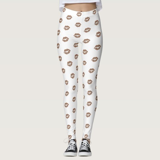 Girly Chic Faux Gold Glitter Lips Pattern Leggings