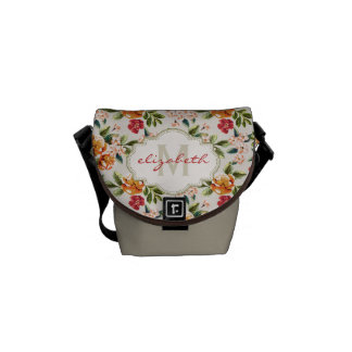Girly Chic Floral Pattern with Monogram Name Commuter Bag