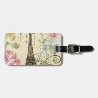 Girly Chic floral Vintage Paris Eiffel Tower Luggage Tag