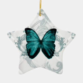 Girly Chic Flourish Bohemian Teal Butterfly Ceramic Ornament