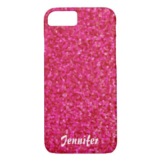 Girly chic glossy shine hot pink personalized iPhone 8/7 case