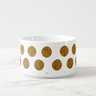 Girly Chic Gold Polka Dots Glitter Photo Print Bowl