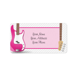 Girly Chic Hot Pink Electric Guitar White Stripes