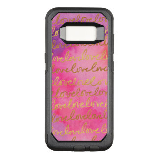 Girly Chic Love Pink Gold Modern Watercolor OtterBox Commuter Samsung Galaxy S8 Case