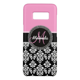 Girly Chic Pink Black Damask Pattern Monogram Case-Mate Samsung Galaxy S8 Case